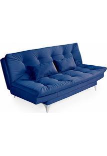 Sofá-Cama 3 Lugares Casal Versátil Veludo Liso Azul Marinho