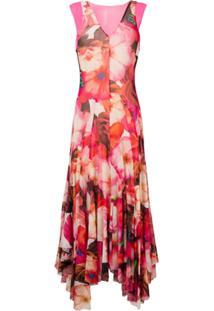 Msgm Vestido Longo Com Estampa Floral - Rosa