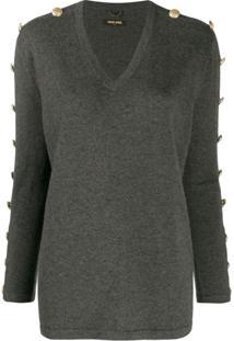 Max & Moi Suéter Com Botões Nas Mangas - Cinza