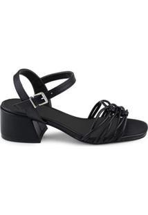 Sandália Entrelaçados Bico Quadrado Feminina - Feminino-Preto