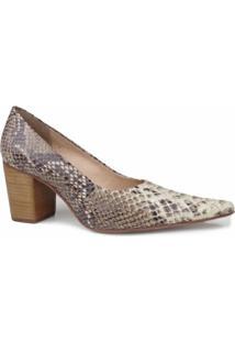 Sapato Dina Mirtz Bico Fino Salto Grosso - Feminino-Marrom+Bege