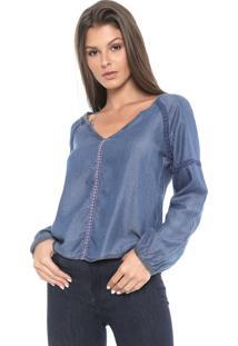 Blusa Jeans Cativa Renda Azul