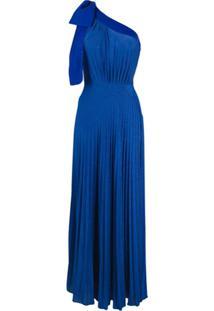 Elisabetta Franchi Vestido Longo Ombro Único - Azul