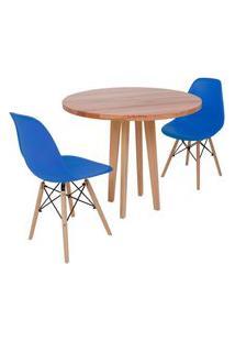 Conjunto Mesa De Jantar Em Madeira 90Cm Com Base Vértice + 2 Cadeiras Eiffel - Azul