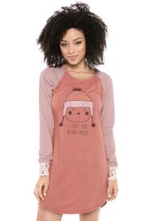 Camisola Cor Com Amor Curta Estampada Rosa