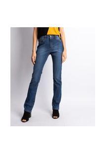 Calça Jeans Reta Feminina Lavagem Escura Estonada Jeans