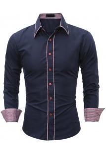 Camisa Masculina Slim Fit Com Detalhes Xadrez Manga Longa - Azul Marinho