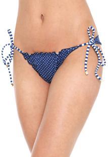 Calcinha Lili Sampedro String Lacinho Azul-Marinho