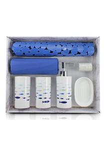 Kit De Banheiro Completo De 7 Peças Jacki Design Cozy Azul