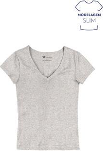 6a0f2ca2cf9d ... Blusa Feminina Básica Em Algodão E Elastano Com Decote V