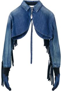 Diesel Red Tag Fringed Cropped Denim Jacket - Azul