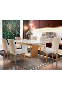 Conjunto De Mesa Sofia Com 6 Cadeiras Grécia-Rufato - Veludo Creme / Off White / Imbuia