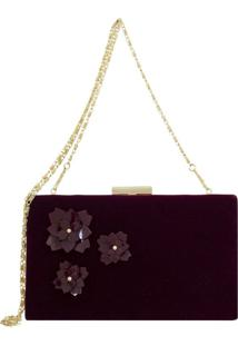 Bolsa Clutch Le Diamond Flowers Vinho