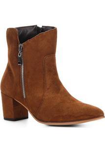 Bota Cano Curto Couro Shoestock London Feminina - Feminino-Caramelo