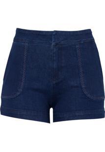 Shorts Dudalina Jeans Bordado Bolsos Feminino (Jeans Escuro, 46)