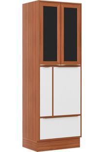 Paneleiro C/ Porta Tempero Com Moldura De Vidro 5406R – Multimóveis. - Nogueira / Branco