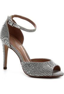 Sandália Shoestock Noiva Lurex Cristais Feminina - Feminino-Branco