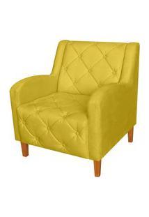 Poltrona Decorativa Munique Pés Trapézio Suede Amarelo - Ds Estofados