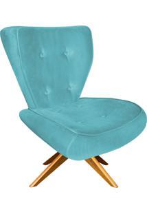 Poltrona Decorativa Tathy Suede Azul Tiffany Com Base Giratória De Madeira - D'Rossi - Tricae