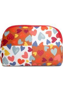 Necessaire Em Neoprene Tritengo Corações Coloridos - Feminino-Laranja+Vermelho