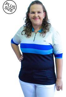 Camisa Pólo Listrada Plus Size Marinho