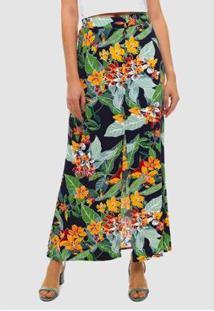 Saia Longa Floral Sob Estampada Marinho Crepe - Feminino-Verde