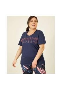 Blusa Plus Size Feminina Fitness Estampa Frontal Marisa