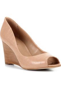 Peep Toe Couro Shoestock Anabela