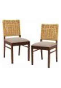 Kit 02 Cadeiras Para Sala De Jantar E Cozinha Sit Canela Linho Rústico Bege Escuro - Gran Belo