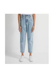 Calça Baggy Jeans Com Aletas E Pregas Frontais