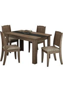 Conjunto Mesa De Jantar 1,36M Com 4 Cadeiras Barbara Marrocos/Preto Tecido Café Cimol