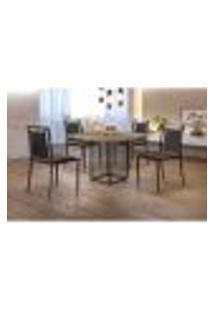 Conjunto De Mesa De Jantar Hera Com Tampo Siena E 4 Cadeiras Grécia I Couríssimo Marrom E Preto