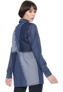 Camisa Jeans Triton Reta Desfiada Azul