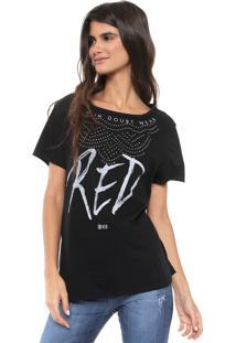 Camiseta Be Red Estampada Aplicação Preta