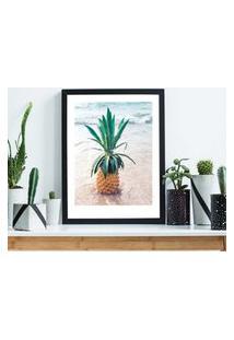 Quadro Decorativo Com Moldura Pineapple Preto - 30X40Cm