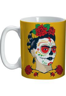 Caneca De Cerâmica Amarela Face Frida Kahlo Urban Home