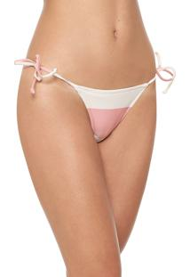 Calcinha Salinas String Club Off-White/Rosa