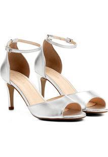 Sandália Couro Shoestock Salto Fino Tornozeleira Feminina - Feminino-Prata