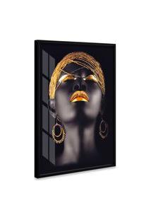Quadro 150X100Cm Mulher Africana Beltza Maquiagem Dourada Moldura E Vidro