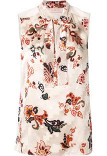 Tory Burch Blusa Com Laço E Estampa Floral - Neutro
