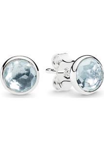 Brinco Gota De Cristal Azul-Água - Março