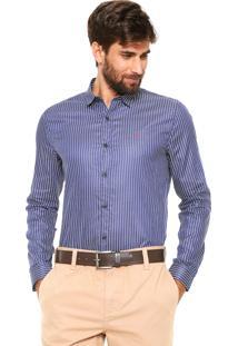 Camisa Calvin Klein Jeans Reta Listrada Azul