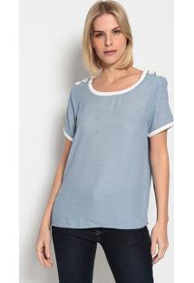 Blusa Geomã©Trica Com Botãµes- Azul & Brancaenna
