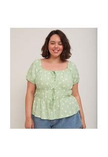 Blusa Poá Em Viscose Com Amarrações Curve & Plus Size | Ashua Curve E Plus Size | Verde | G