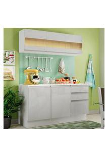 Cozinha Compacta 100% Mdf Madesa Smart 120 Cm Modulada Com Balcáo E Tampo - Frentes Branco Brilho Branco