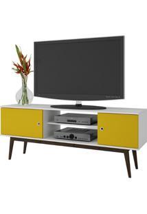 Rack Para Tv Bpi 11 Branco/Amarelo/Carvalho Escuro Brv Móveis