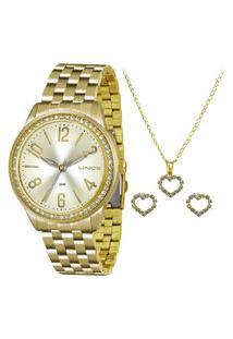 Kit De Relógio Analógico Lince Feminino + Brinco + Colar- Lrg4338L Kt02C2Kx Dourado