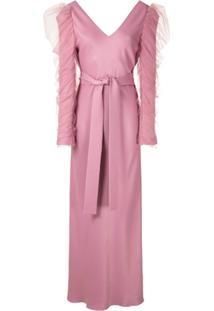 Gloria Coelho Vestido Longo Com Amarração - Rosa