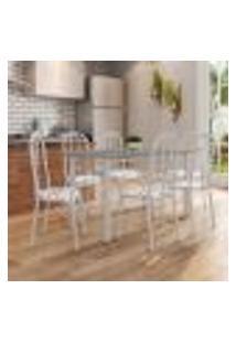 Conjunto De Mesa Granada Com 6 Cadeiras Madri Prata E Branco Floral