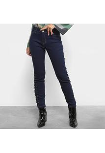 Calça Jeans Skinny Mob Trançado Lateral Cintura Média Feminina - Feminino-Jeans